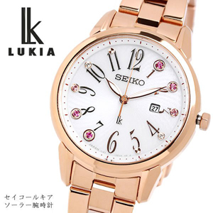 SEIKO LUKIA セイコー ルキア ソーラー クオーツ 腕時計 10気圧防水 日付カレンダー ステンレス サファイアガラス ピンクゴールド SUT302J1