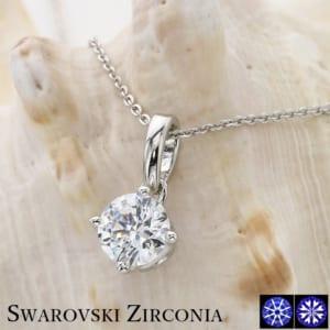 スワロフスキージルコニア 1.25ct 一粒ネックレス