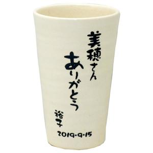 【名入れ】信楽焼ビアタンブラー(単品) 名前入り メッセージ入り ビアカップ