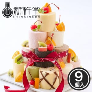 9種のミニロール★ロールケーキタワー 9個