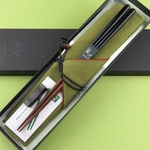 塗分け秀月 箸袋(緑)黒檀箸置き・お箸拭き付特別