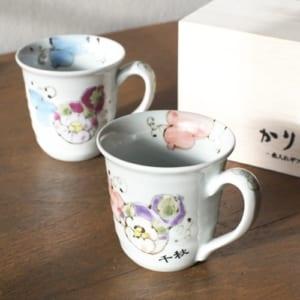 名入れマグカップ 有田焼 花六瓢(はなむびょう)