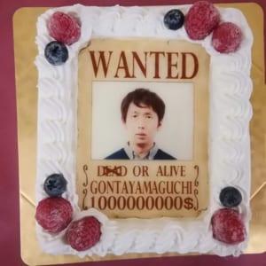 ウォンテッド(お尋ね者)なりきり写真ケーキ