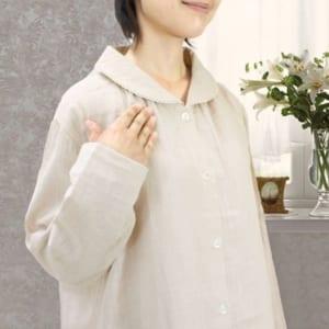 ダブルガーゼ(2重ガーゼ) レディースパジャマ (丸襟、前開きタイプ・長袖)