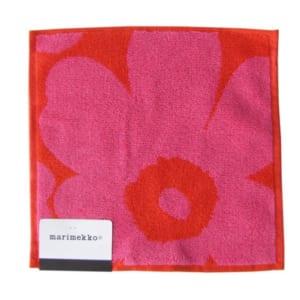 マリメッコ Marimekko タオル ハンドタオル ハンカチ 25×25cm  ウニッコ レッド×ピンク