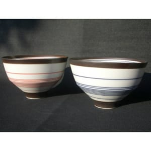 【名入れ】 有田焼 呉須錆線紋(青・朱) 夫婦茶碗