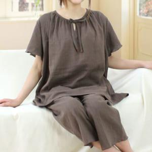 【ダブルガーゼ(2重ガーゼ)半袖レディースパジャマ