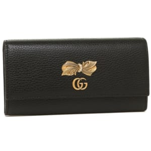 【グッチ】内側が淡いピンクで花があしらわれたレザー長財布