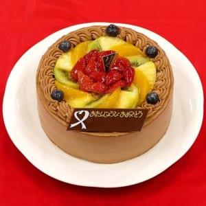 ベルギー産クーベルチュールチョコ&新鮮フルーツのケーキ