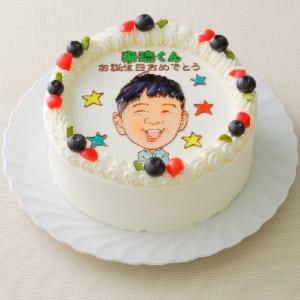 【フォトスタンド付き・6号】プロの似顔絵師とコラボしたデコレーションケーキ