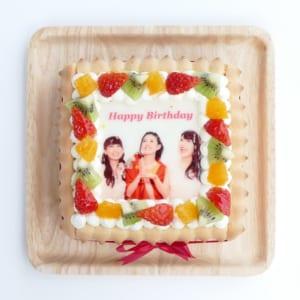 【スクエア型・5号】ビスキュイ付きの写真ショートケーキ