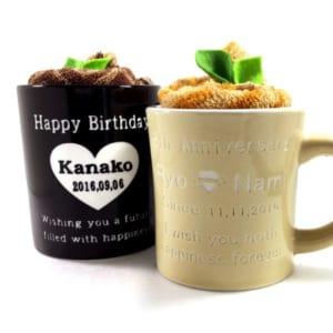 【名入れ】【マグカップ】 カプチーノみたいなタオル入り♪ かわいいデザインは全部で4種類。記念日やメッセージも入ります!世界でひとつのマグカップ by M-style