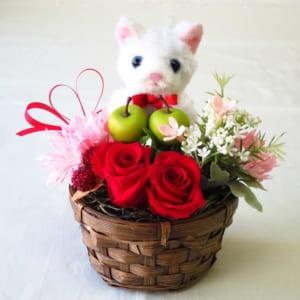 プリザーブドフラワーのバラと造花 アレンジメント