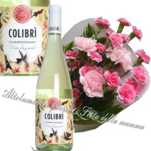 カーネーションの花束とイタリア微発泡白ワイン「コリブリ」