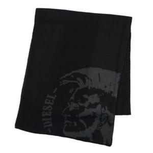 【ディーゼル】ブレイブマン刺繍のブラックマフラー