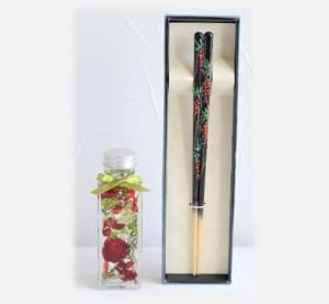 京友禅手描き箸1膳とハーバリウムセット