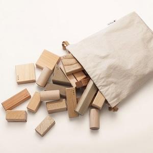 木のおもちゃ 寄木の積木 ふくろ入り 日本製