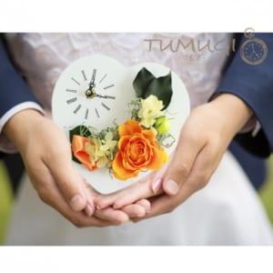 幸せのプリザーブドフラワー時計付き TUMUGI(つむぎ)