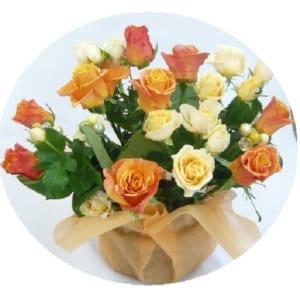 ビタミンカラーの花束 バラのアレンジメント