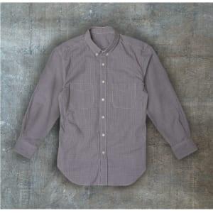 簡単着脱ワンタッチテープ式のネクタイをはめてもおしゃれなギンガムチェックボタンダウンシャツ ブラック×オフ(M、L、LL) by マルカ