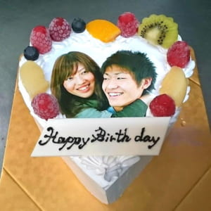 ハート型写真ケーキ