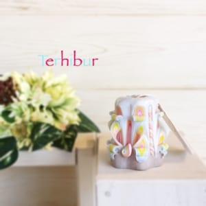 キャンドル カービング テルヒブール(Terhibur) 薄水色&イエロー系 ◆SSサイズ(高さ約7㎝) by テルヒブール