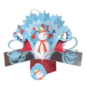 カンドネイチャー SECOND NATURE プチポップアップカード スノーマン クリスマス シルバー ライトブルー 青 レッド 赤 ホワイト 白 季節のカード 絵葉書 グリーティングカード 3Dポップアップカード クリスマスカード メッセージカード おしゃれ かわいい Xmas 海外 幼稚園