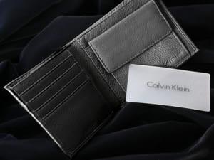 カルバンクライン 二つ折り財布 本革 レザー ロゴ