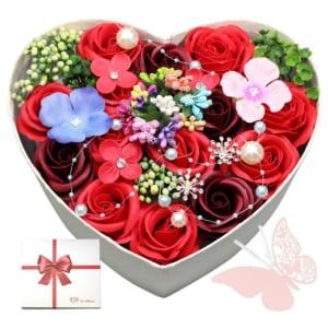【送料無料】ニューハート型フラワーアレンジ floralbijou(フローラルビジュー) 花 結婚記念日 フラワーソープ 誕生日 プレゼント by フローラルビジュー