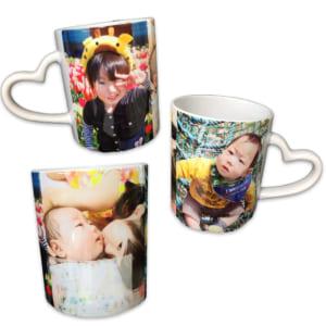 LINEで簡単!!写真、メッセージから作る世界に1つのハートハンドルマグカップ