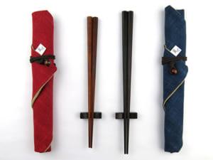 黒檀・紫檀八角 夫婦箸 箸袋・黒檀拭き漆箸置き付セット
