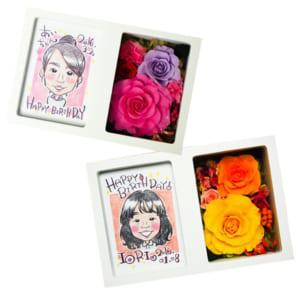 【世界に一つだけ】花ギフト!プリザーブドフラワーの似顔絵BOX L判(全2色)フォトフレーム オリジナル(お誕生日プレゼントや、記念日のサプライズギフトに最適です) by プリザーブドフラワーの花音