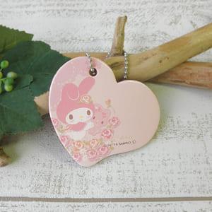 【名入れ】サンリオキャラクターズ「レザー/本革ハートネームタグMy Melody-Light Pink」【選べるデザイン】 by Leather Deco