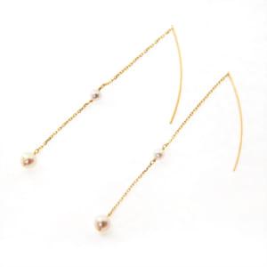 あこや真珠 ベビーパール ピアス アメリカンピアス 2粒真珠 3.5-4.5mm K10 K18 by Blue Lace. Accessories