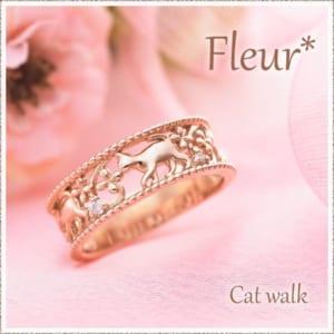 ピンキーリング 10K K10 Fleur Cat walk 関節リング ダイヤモンド ミディリング ファランジリング アクセサリー ピンクゴールド 重ね着け 重ねづけ 可愛い レディース 指輪 0号 1号 2号 3号 4号 5号 6号 7号 偶数号 父の日 母の日 送料無料 by ペアリング・ペアアクセサリー専門店 Fiss