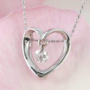 ダイヤモンドが揺れる オープンハート 1粒天然ダイヤモンド × K18WG