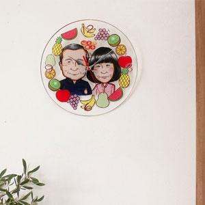 似顔絵プレゼント壁掛け時計[二人]名入れ