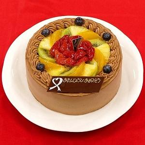 ベルギー産クーベルチュールチョコと新鮮なフルーツがたっぷり ☆フレッシュフルーツ乗せ生チョコクリームのショートケーキ☆4号 12cm by CAKE EXPRESS
