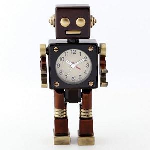 ミニチュア クロック 置時計 ロボット型 日本製クォーツ おしゃれ 小さい アナログ 卓上 インテリア デザイン かわいい 雑貨 レア アイテム ギフト AC570-BR by CAMERON