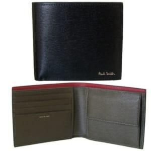 ポールスミス 二つ折り財布 メンズ ブラック マルチカラー M1A 4833 BSTRGR 79 Made in ITALY by Alevel(エイレベル)