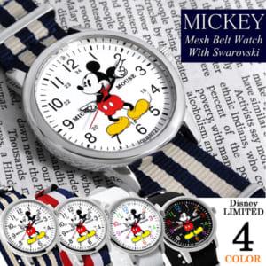 【ミッキーマウス】 腕時計 スワロフスキー NATOベルト ナイロン