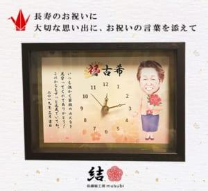 長寿のお祝い似顔絵メッセージ入り時計額縁
