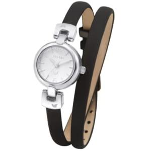 腕時計 レディース 革ベルト ウォッチ TirrLirr ティルリル シルバー 黒 キュービック ジルコニア ギフト 人気 TWC-005 by BJ DIRECT