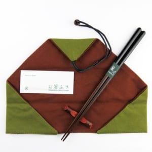 彫刻名入れ 塗分け秀月 箸袋(緑)梅小枝箸置き・お箸拭き付特別(紙箱)セット