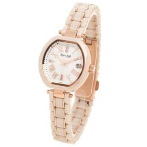 ルビンローザ 時計 Rubin Rosa R308PBE ソーラー セラミック レディース腕時計ウォッチ ピンクゴールド/ホワイトベージュ by ブランドショップAXES(日本流通自主管理協会会員)