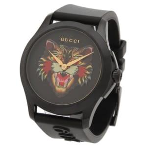 グッチ 時計 GUCCI YA1264021 G-TIMELESS ANGRY CAT WATCH Gタイムレスアングリーキャット メンズ腕時計 ウォッチ ブラック by ブランドショップAXES(日本流通自主管理協会会員)