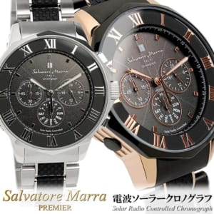 Salvatore Marra サルバトーレマーラ 電波 ソーラー 腕時計 メンズ クロノグラフ クロノ 電波受信 10気圧防水 ステンレス×ラバー コンビベルト ウォッチ SM16110 by CAMERON