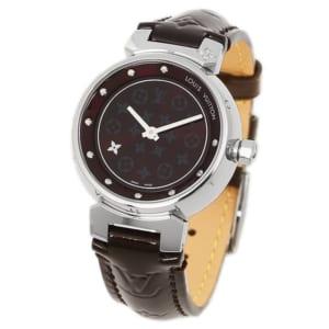 ルイヴィトン 時計 レディース LOUIS VUITTON Q12M30 28mm タンブールディスク ディアモンPM レディース腕時計 アマラント/シルバー by ブランドショップAXES(日本流通自主管理協会会員)