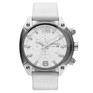 【DIESEL】ディーゼル クオーツ OVERFLOW オーバーフロー クロノグラフ 腕時計 メンズ 10気圧防水 ステンレス レザーベルト ミネラルガラス ホワイト DZ4315 ギフト by CAMERON