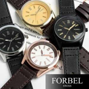 FORBEL メンズ 腕時計 レザー 革ベルト【限定モデル】 メンズ 腕時計 MEN'S ウォッチ ランキング ブラック ブラウン《フォーベル》☆クォーツ by CAMERON